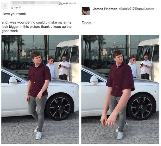 photoshop - Motor vehicle - @gmail.com> to me James Fridman<fjamie013@gmail.com> i love your work Done and i was woundering could u make my arms look bigger in this picture thank u keeo up the good work
