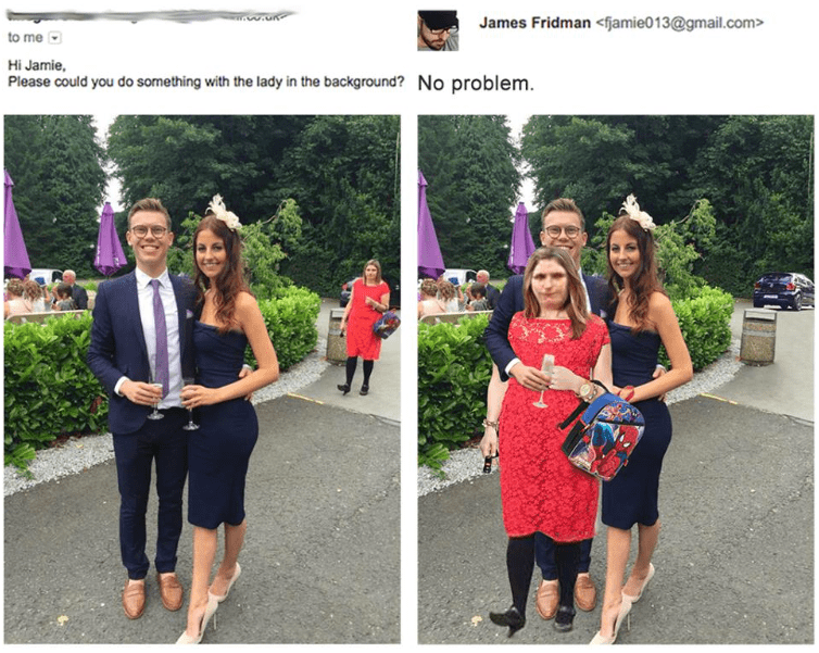 photoshop - Red - James Fridman <fjamie013@gmail.com> to me Hi Jamie, Please could you do something with the lady in the background? No problem