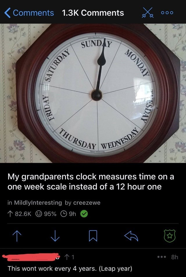 facepalm - Clock - Comments 1.3K Comments O O O www.dayclocks.com SUNDAY THURSDAY WEDNESDAY Fatent D411 My grandparents clock measures time on a one week scale instead of a 12 hour one in Mildlylnteresting by creezewe 82.6K 95% 9h 个1 8h This wont work every 4 years. (Leap year) MONDAY ESDAY SATURDAY FRIDAY K