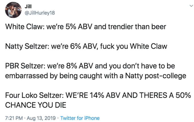 White Claw seltzer - Text - Jill @JillHurley18 White Claw: we're 5% ABV and trendier than beer Natty Seltzer: we're 6% ABV, fuck you White Claw PBR Seltzer: we're 8% ABV and you don't have to be embarrassed by being caught with a Natty post-college Four Loko Seltzer: WE'RE 14% ABV AND THERES A 50% CHANCE YOU DIE 7:21 PM Aug 13, 2019 Twitter for iPhone