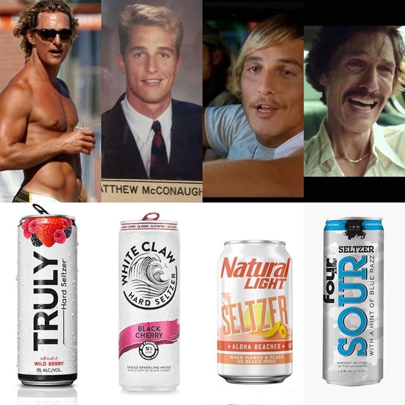 White Claw seltzer - Product - TTHEW MCCONAUGH ALOOMOL CLAM SELTZER Natural LIGHT ITE HARD SELTZER BLACK CHERRY ALOHA BEACHES WHEN MANGO & PEACH GO BEACH MODE whof WILD BERRY HARDEST SELTZCR IN THE UNIVVERSE SPOCED 5PARKLING WATER wiha T Or ACK CHE 5% ALC/VOL 4% ALC/vou TRULY -Hard Seltzer WITH A HINT OF BLUE RAZZ