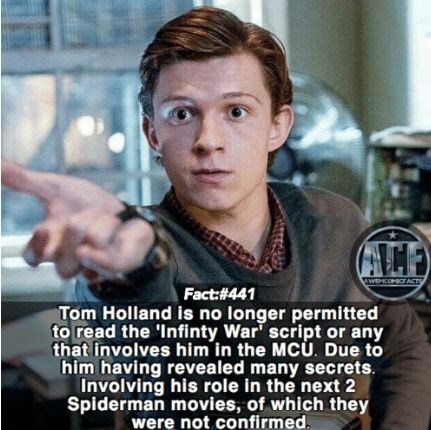 Photo caption - wwwHCOMFACTS Fact:#441 Tom Holland is no longer permitted to read the 'Infinty War' script or any that involves him in the MCU. Due to him having revealed many secrets. Involving his role in the next 2 Spiderman movies, of which they were not confirmed.