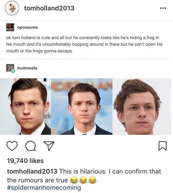 "Meme - ""ok tom holland is cute and all but he constantly looks like he's hiding a frog in his mouth and it's uncomfortably hopping around in there but he can't open his mouth or the frogs gonna escape; This is hilarious. I can confirm that the rumours are true"""