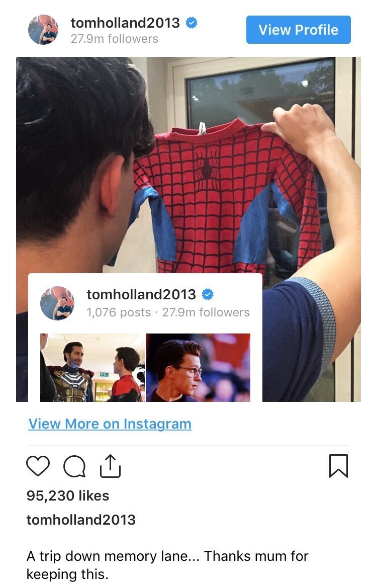 Text - tomholland2013 View Profile 27.9m followers 124製 tomholland2013 1,076 posts 27.9m followers View More on Instagram 95,230 likes tomholland2013 A trip down memory lane... Thanks mum for keeping this