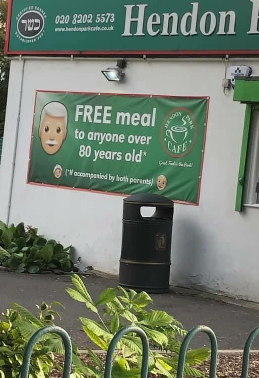 false advertising - Plant - Hendon ARWIES 20 8202 5573 C www.hendonparkcafe.co.uk FREE meal to anyone over AF 80 years old* HENDOY ('lf accompanied by both parents)