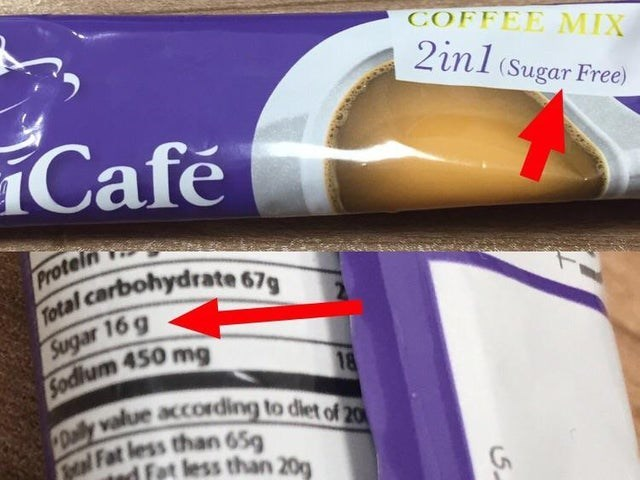 false advertising - Font - COFFEE MIX 2inl (Sugar Free) Cafe Protein Fotal carbohydrate 67 Sugar 16 g Sodium 450 mg 18 Dailly value according to diet of 20 MalFat less than 65 d Fat less than 20