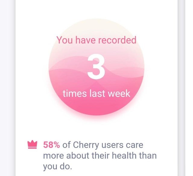 false advertising - Pink - You have recorded 3 times last week 58% of Cherry users care more about their health than you do.