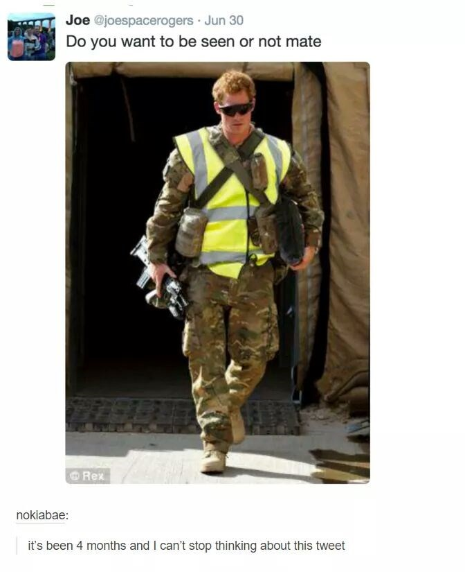 Military uniform - Joe @joespacerogers Jun 30 Do you want to be seen or not mate Rex nokiabae: it's been 4 months and I can't stop thinking about this tweet