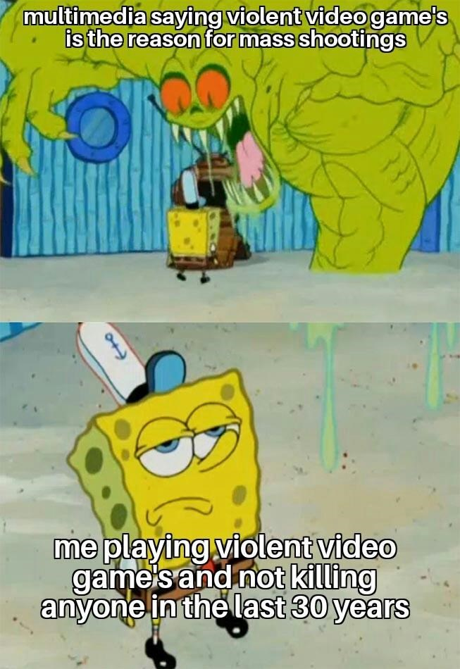 Cartoon - multimedia saying violent videogame's is the reason for mass shootings me playing violent video game's and not killing anyone in the last 30 years