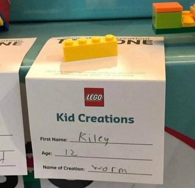 failed attempt - Carton - DNE NE tr LEGO Kid Creations Kilcy First Name: 12 Age: Name of Creation: O m
