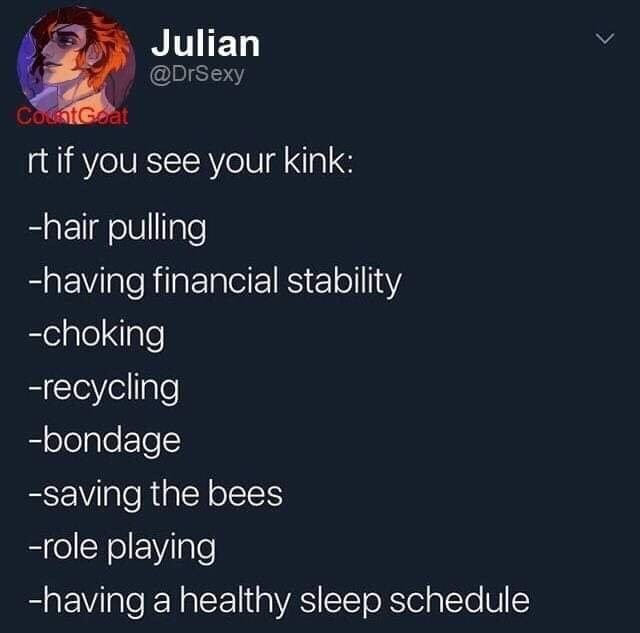 Text - Julian @DrSexy CocntGoat rt if you see your kink: -hair pulling -having financial stability -choking -recycling -bondage -saving the bees -role playing -having a healthy sleep schedule