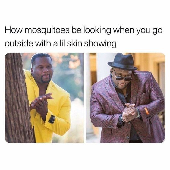 Outerwear - How mosquitoes be looking when you go outside with a lil skin showing otms