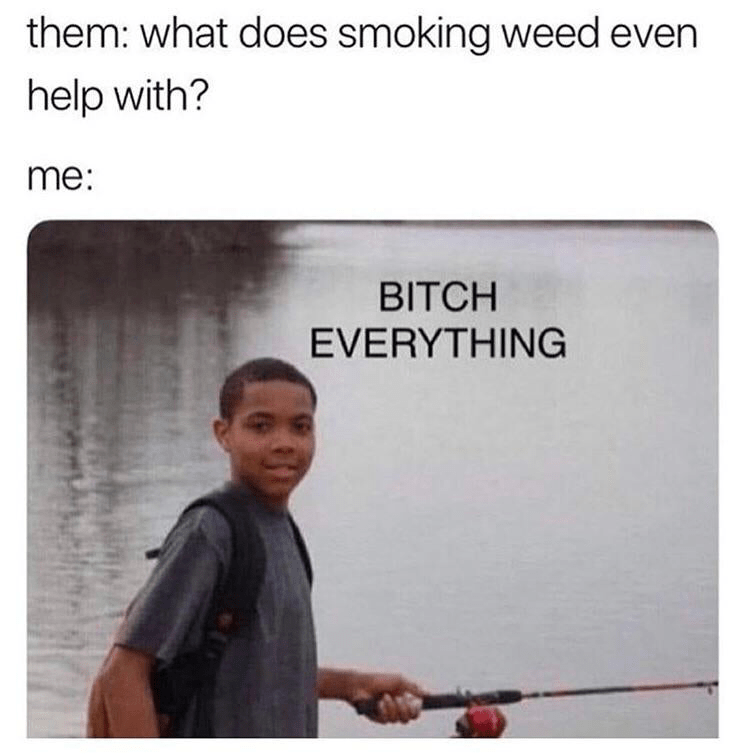 meme - Text - black kid fishing - them: what does smoking weed even help with? me: BITCH EVERYTHING