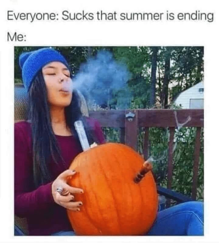 meme - Pumpkin Bong - Everyone: Sucks that summer is ending Me: