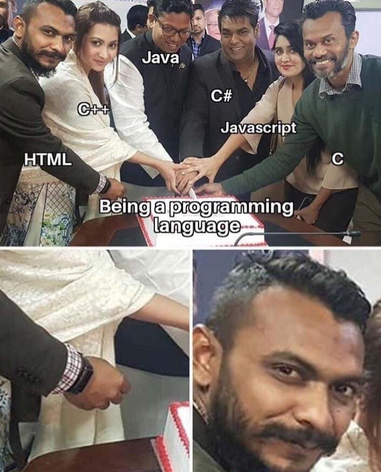 Facial expression - Java C# C++ Javascript HTML C Being a programming language