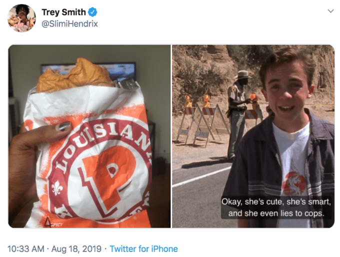 Human - Trey Smith @SlimiHendrix Okay, she's cute, she's smart, and she even lies to cops. PICY 10:33 AM Aug 18, 2019 Twitter for iPhone