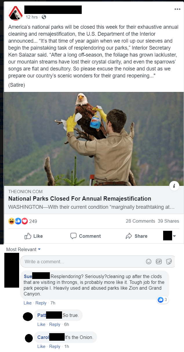 """Product - 12 hrs America's national parks willl be closed this week for their exhaustive annual cleaning and remajestification, the U.S. Department of the Interior announced... """"It's that time of year again when we roll up our sleeves and begin the painstaking task of resplendoring our parks,"""" Interior Secretary Ken Salazar said. """"After a long off-season, the foliage has grown lackluster, our mountain streams have lost their crystal clarity, and even the sparrows' songs are flat and desultory. S"""