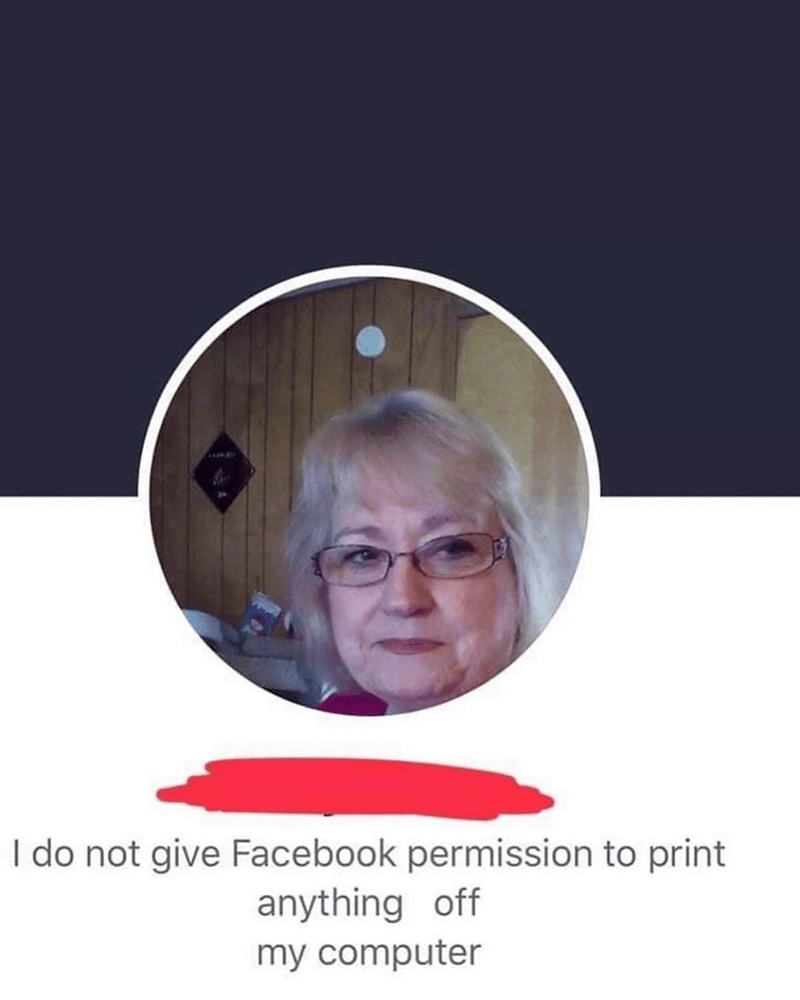 Text - I do not give Facebook permission to print anything off my computer