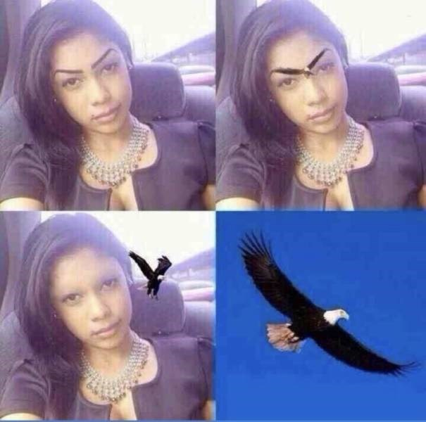 Photoshopped image of a woman's eyebrows as an eagle flying away