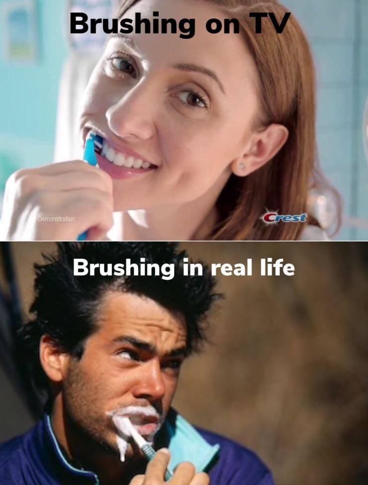 Face - Brushing on TV Crest Demonstration Brushing in real life