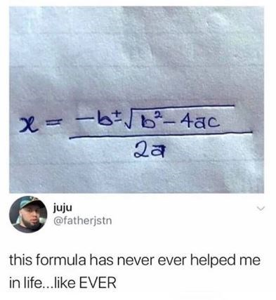 "Meme showing a math equation and a tweet below that reads, ""this formula has never ever helped me in life...like EVER"""