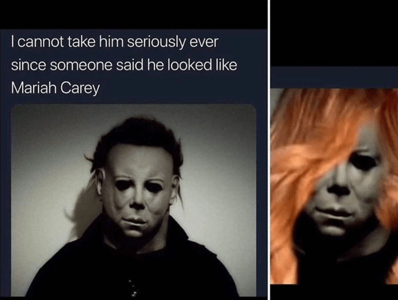 Funny meme that says Mariah Carey looks like Jason from Friday the 13th.