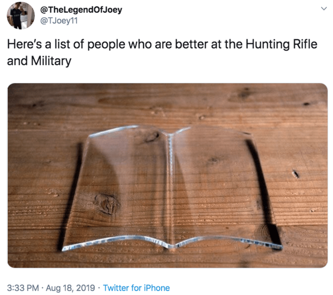glass page holder meme - Wood - @TheLegendOfJoey @TJoey11 Here's a list of people who are better at the Hunting Rifle and Military 3:33 PM Aug 18, 2019 Twitter for iPhone