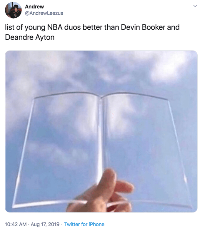 glass page holder meme - Text - Andrew @AndrewLeezus list of young NBA duos better than Devin Booker and Deandre Ayton 10:42 AM Aug 17, 2019 Twitter for iPhone