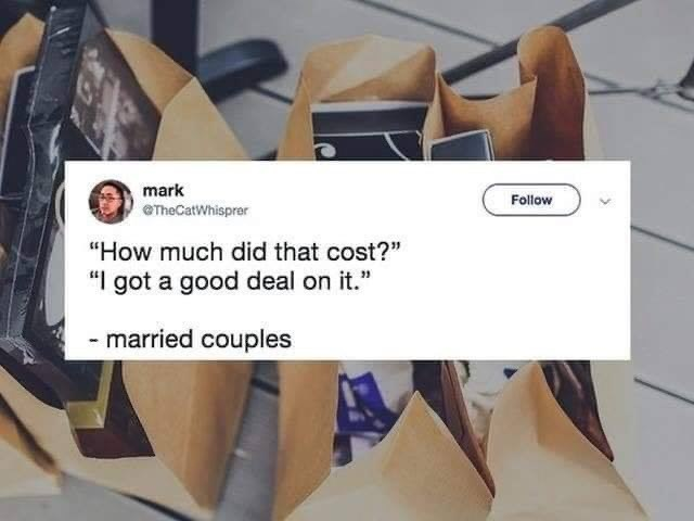 """married life - Footwear - mark Follow eTheCatWhisprer """"How much did that cost?"""" """"I got a good deal on it."""" -married couples"""