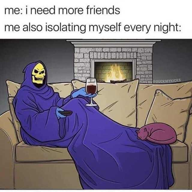 """Skeletor meme - """"me: i need more friends; me also isolating myself every night"""""""