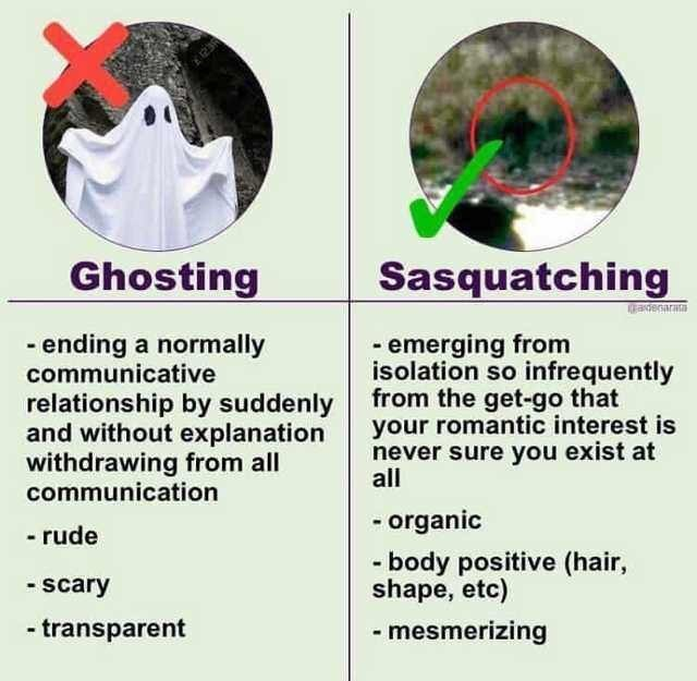 Text - E23R Ghosting Sasquatching adenarat -ending a normally communicative emerging from isolation so infrequently from the get-go that your romantic interest is never sure you exist at all relationship by suddenly and without explanation withdrawing from all communication organic -rude - body positive (hair, shape, etc) -scary -transparent -mesmerizing