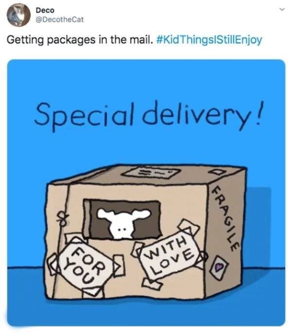 Text - Deco @DecotheCat Getting packages in the mail. #KidThingslStillEnjoy Special delivery! WITH oVE FOR YOU FRAGILE