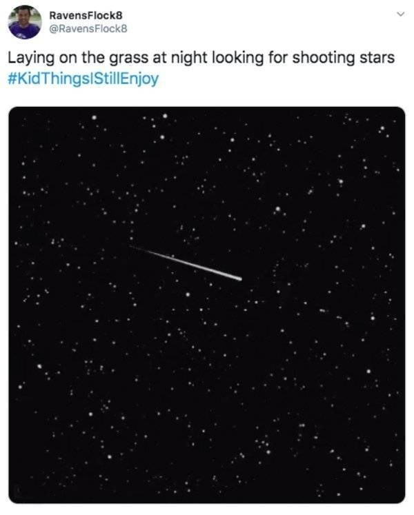 Text - RavensFlock8 @RavensFlock8 Laying on the grass at night looking for shooting stars #KidThingsIStillEnjoy