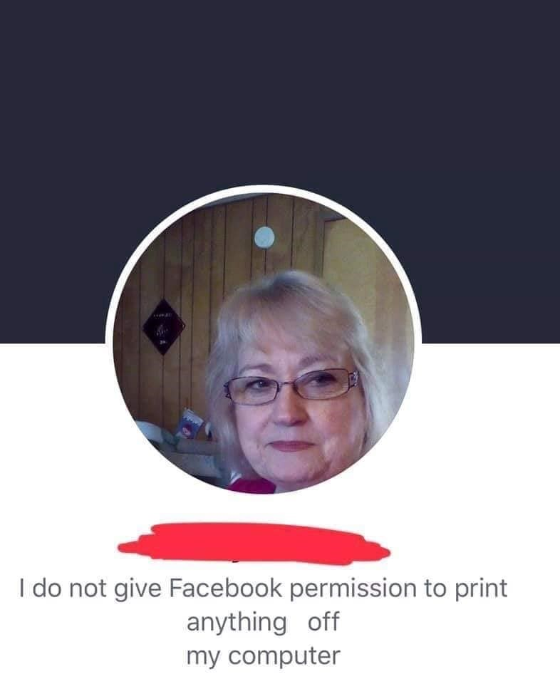 old people facebook - Head - I do not give Facebook permission to print anything off my computer