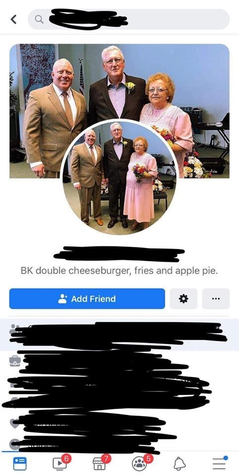 old people facebook - Movie - < BK double cheeseburger, fries and apple pie. Add Friend TIl