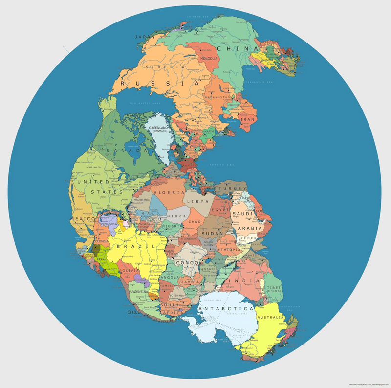 picture of pangea on globe with current international borders