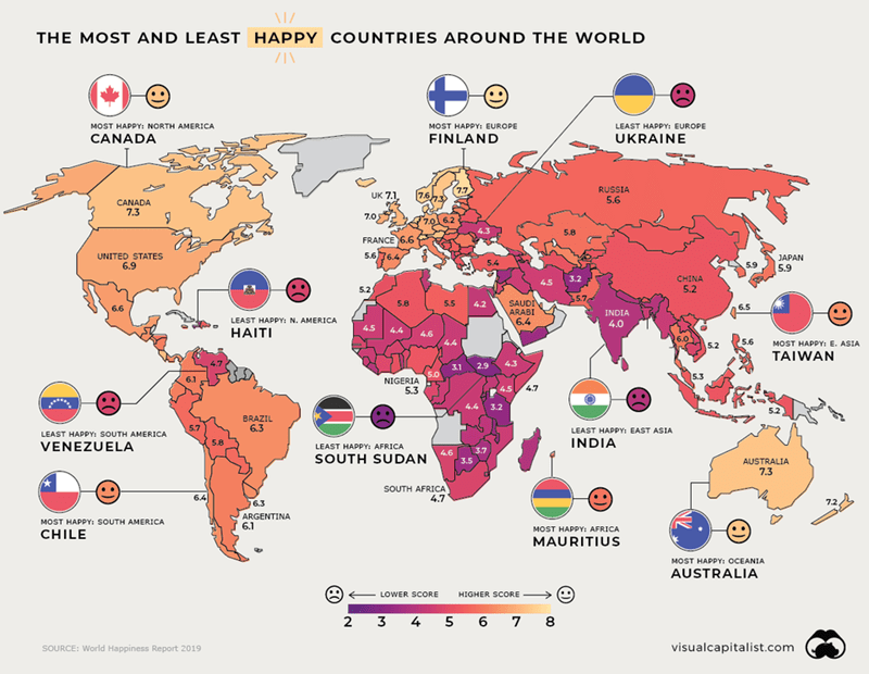colorful map indicating the happiness levels of each country