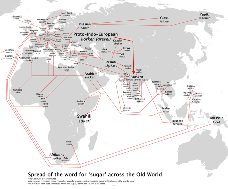 a grey and white map showing the spread of the word sugar across the old world