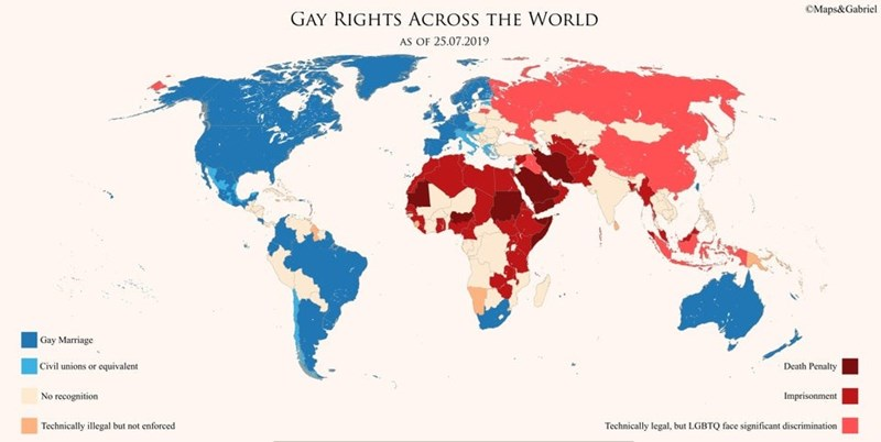 blue and red map showing the different attitudes towards homosexuality around the world
