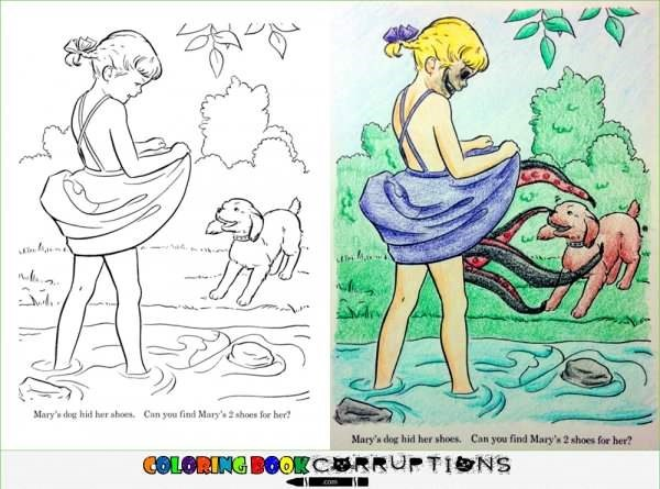 Cartoon - Mary's dog hid her ahoes. Can you find Mary's 2 shoes for ber Mary's dog hid her shoes. Can you find Mary's 2 shoes for her? COLORING BOOKCORRUPTINS