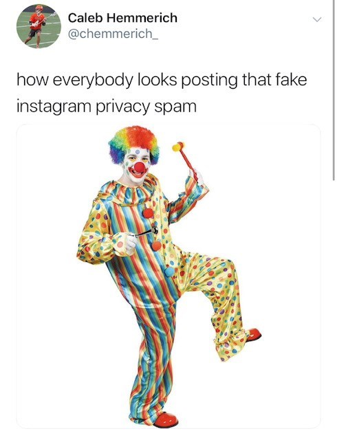 Clown - Caleb Hemmerich @chemmerich_ how everybody looks posting that fake instagram privacy spam