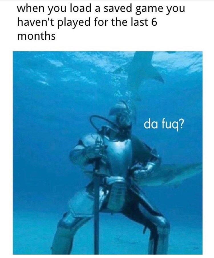 Scuba diving - when you load a saved game you haven't played for the last 6 months da fuq?