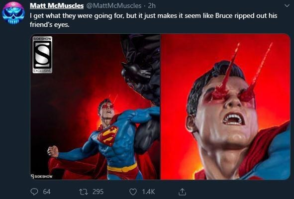 design fail - Fictional character - Matt McMuscles @MattMcMuscles I get what they friend's eyes. 2h were going for, but it just makes it seem like Bruce ripped out his SIDESHOW EXCLUSIVE SSIDESHOW 1.4K 295 64
