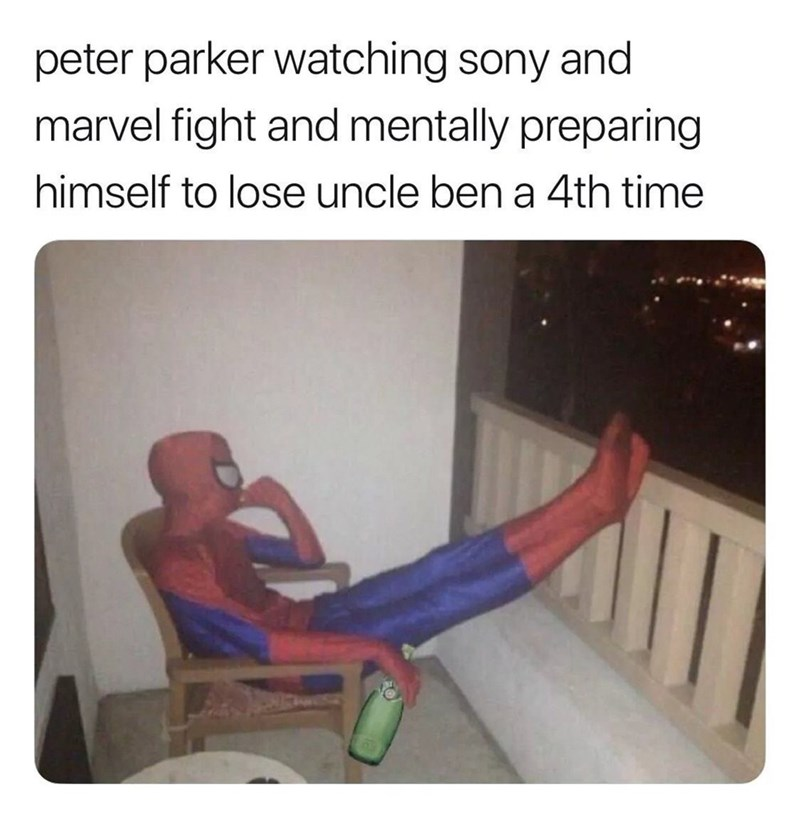 spider man - Human - peter parker watching sony and marvel fight and mentally preparing himself to lose uncle ben a 4th time