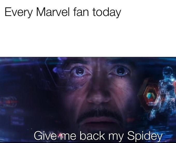 spider man - Text - Every Marvel fan today Give me back my Spidey