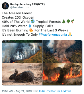 "Tweet that reads, ""The Amazon Forest Creates 20% Oxygen 40% of The World Tropical Forests Supply, Fall's Hold 20% Water It's Been Burning It's not Enough To Only #PrayforAmazonia"""