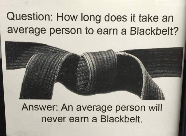 stupid but true - Text - Question: How long does it take an average person to earn a Blackbelt? Answer: An average person will never earn a Blackbelt.