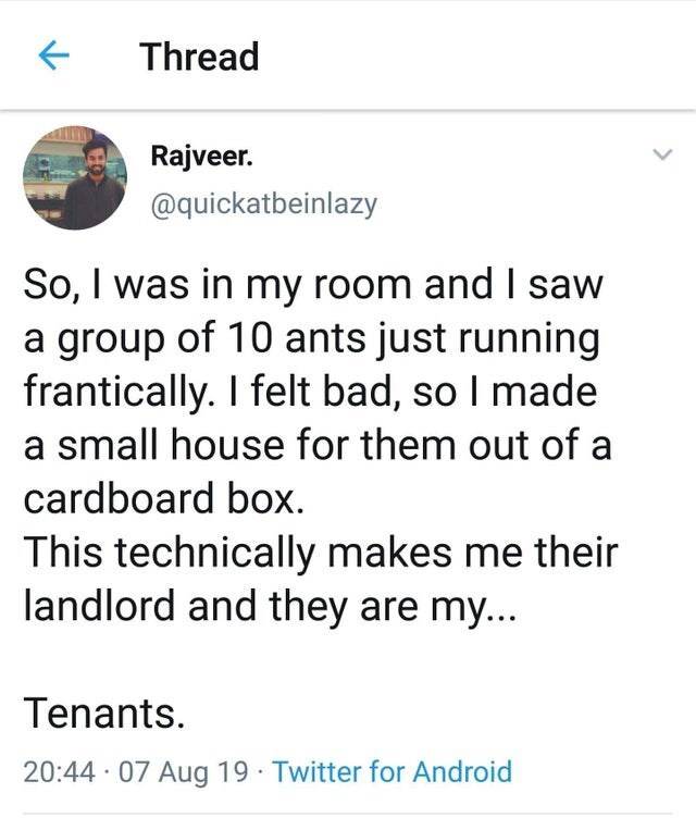 stupid but true - Text - Thread Rajveer. @quickatbeinlazy So, I was in my room and I saw a group of 10 ants just running frantically. I felt bad, so I made a small house for them out of a cardboard box This technically makes me their landlord and they are my... Tenants 20:44 07 Aug 19 Twitter for Android