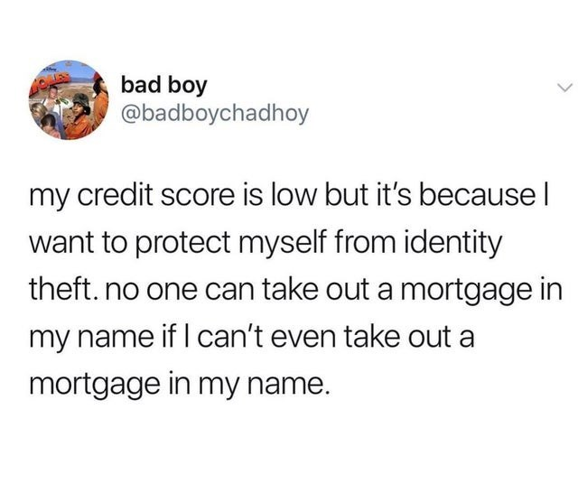 stupid but true - Text - bad boy @badboychadhoy my credit score is low but it's because I want to protect myself from identity theft. no one can take out a mortgage in my name if I can't even take out a mortgage in my name.