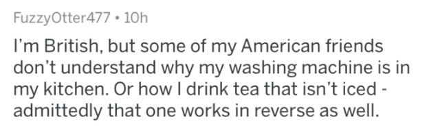 askreddit - Text - FuzzyOtter477 10h I'm British, but some of my American friends don't understand why my washing machine is in my kitchen. Or how I drink tea that isn't iced - admittedly that one works in reverse as well
